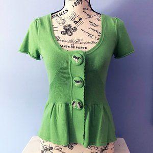 Anthropologie Green Cotton Cardigan XS NEW
